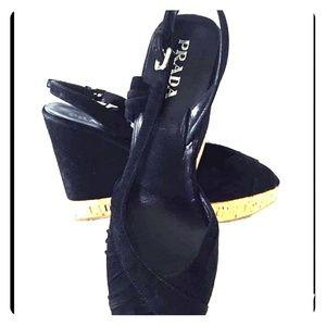 Prada Black Velvet Slingback Wedges- Size 7.5